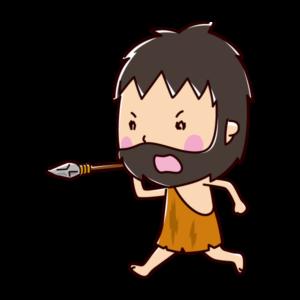 狩りをする原始人のイラスト(戦い・男性)