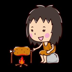 肉を焼く原始人のイラスト(料理・女性)