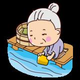 川で洗濯をするおばあさんのイラスト