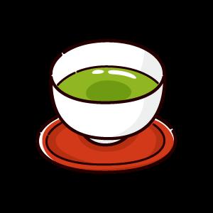 お茶のイラスト(抹茶)(4カット)