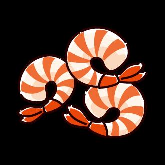 むきエビのイラスト(4カット)