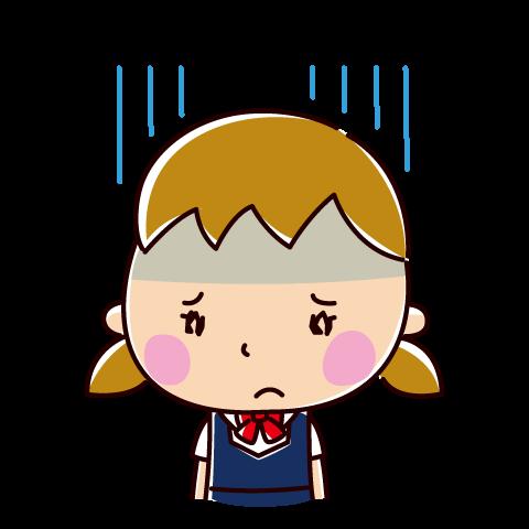 落ち込む表情のイラスト(女子学生)(2カット)