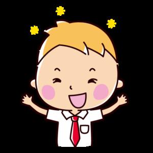 喜ぶイラスト(男子学生)