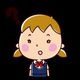 疑問の表情のイラスト(女子学生)