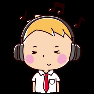 音楽を聴くイラスト(男子学生・ヘッドホン)