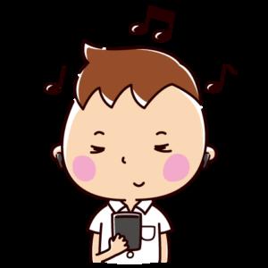 音楽を聴くイラスト(男子学生・イヤホン)