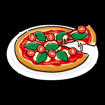 ピザのイラスト(マルゲリータ)