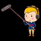 マイクブームポールで録音している人のイラスト
