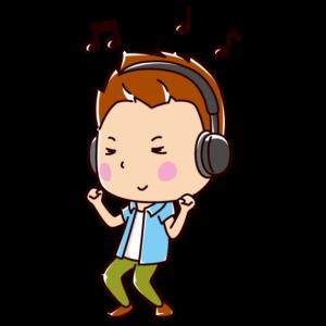 音楽を聴きながら踊る若者のイラスト(男性)