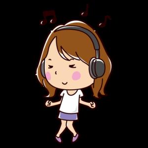 音楽を聴きながら踊る若者のイラスト(女性)