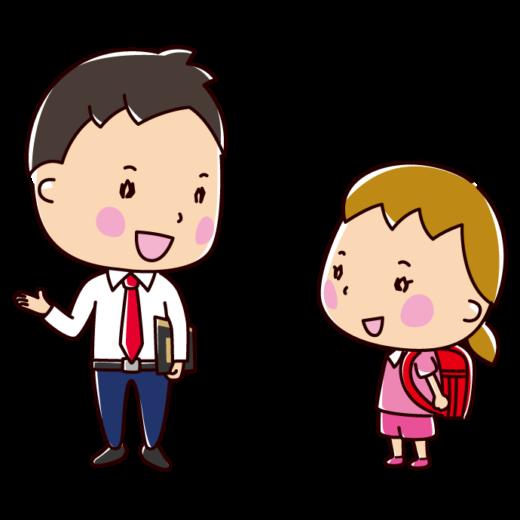 会話のイラスト(男の先生と生徒)(2カット)