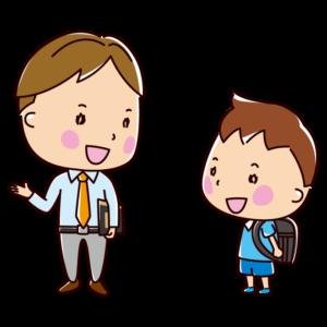 男の先生と生徒の会話のイラスト(教師と児童)
