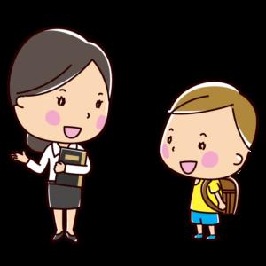女の先生と生徒の会話のイラスト(教師と児童)