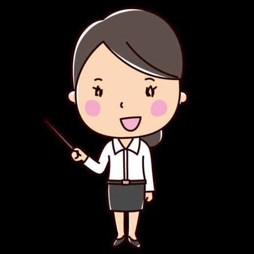 指し棒で説明する女性のイラスト(会話)