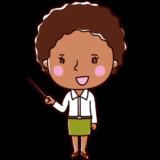 指し棒で説明する黒人女性のイラスト(会話)